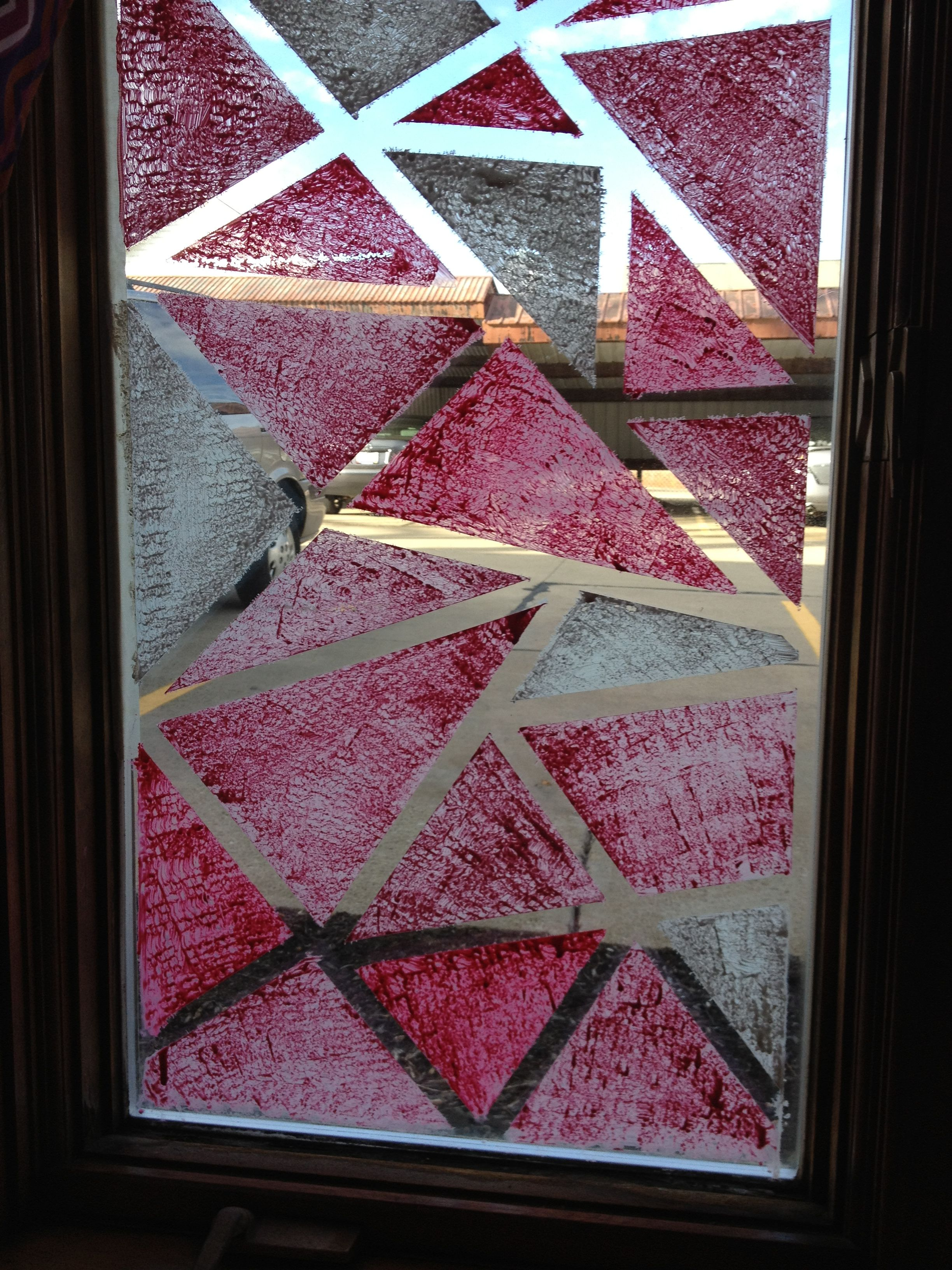 When Living In An Apartment And You Want More Privacy With A Splash Of Color Paint Your Windows Using Masking Tap Glass Art Glass Texture Glass Art Sculpture