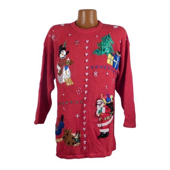 Ugly Christmas Sweater Vintage Party Cardigan Santa Beaded Red