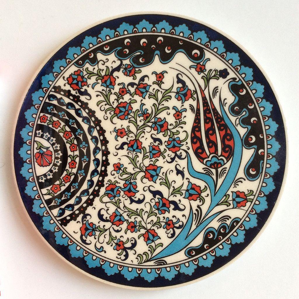 Floral Ceramic Trivet Iznik Design Ceramics Ceramic Art Turkish Tiles