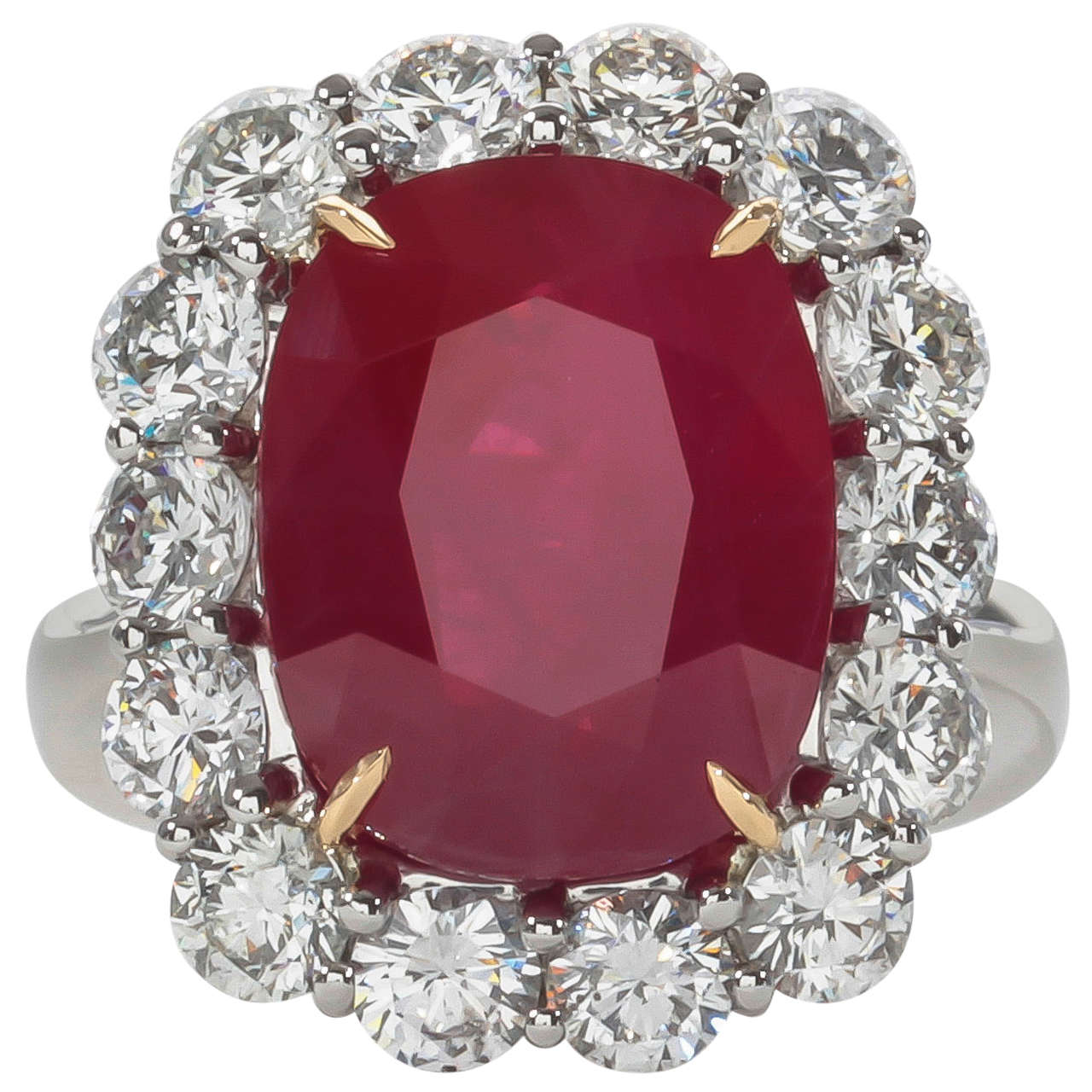 Rare Ten Carat Burma Ruby Diamond Ring  From A Unique Collection Of  Vintage Cocktail Rings