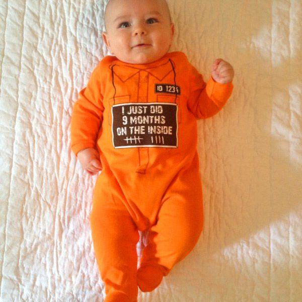 150538f58 9 Months On The Inside Baby Onesie Halloween Costume - 9 months of hard  time baby onesie costume