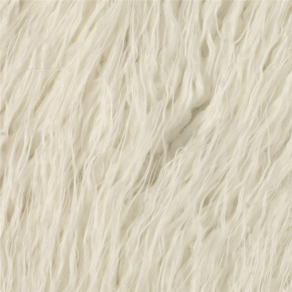 Shannon Lux Faux Fur Curly Mongolian White Faux Fur Fur Carpet Fabric