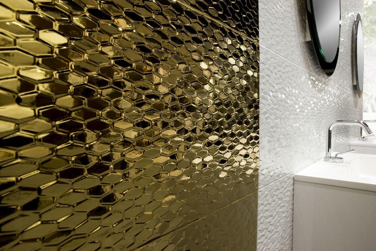 Futura Oro And Nacar 30x90 Ceramic Textured Glossy Wall Tile