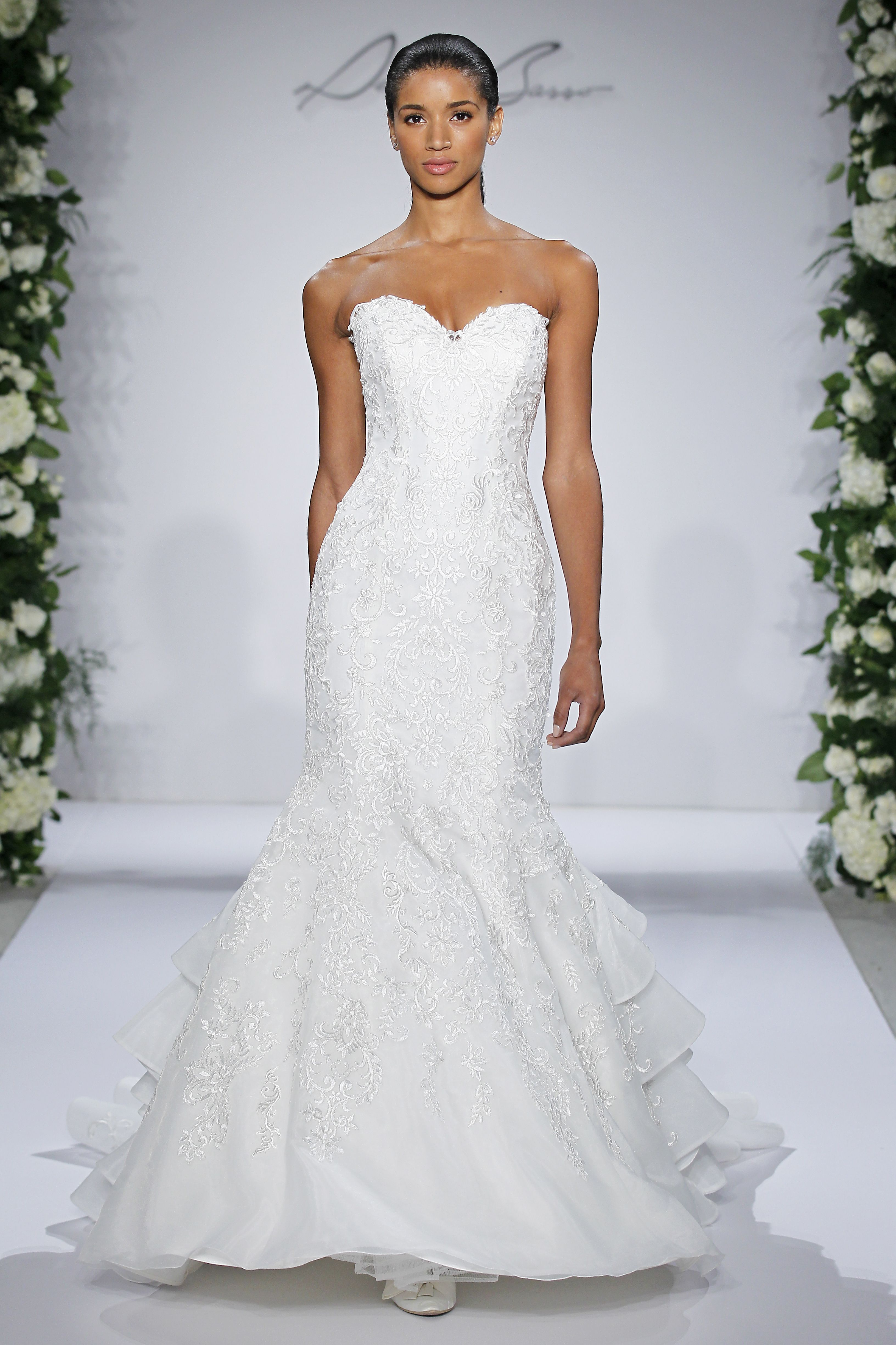 Style 14047 - Ivory strapless embroidered fit and flare organza gown ...