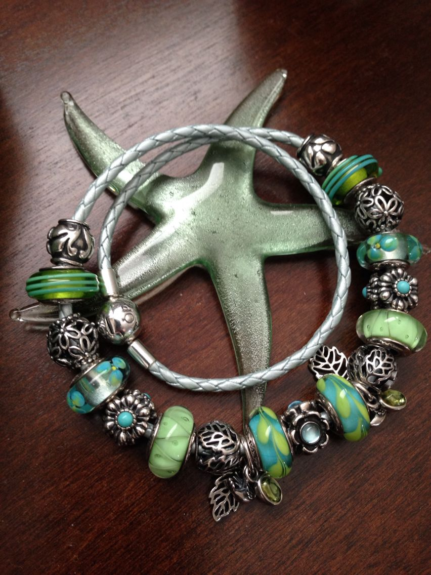 My Murano Green Pandora Charms On A New Light Blue Leather Bracelet! Nicole