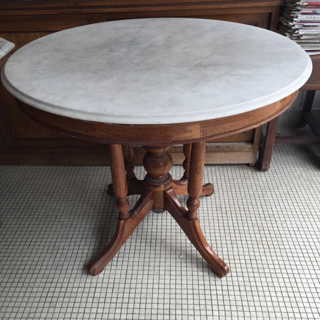 Marble Coffee Table In Singapore: 3 FeetFrom Local Kopitiam Marble In Good Condition