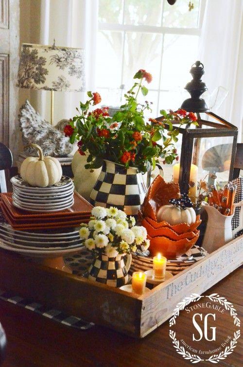 FALL KITCHEN TABLE VIGNETTE-kitchen table-fall decor-stonegableblog.com