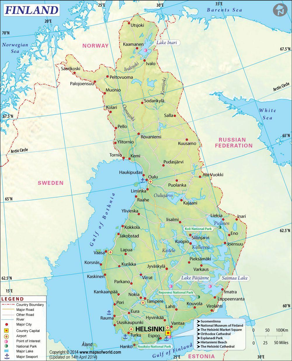 Finland Map  mapas  Pinterest  Finland Northern lights trips