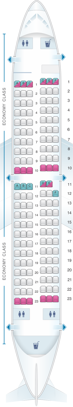 Seat Map Southwest Airlines Boeing B737 300 137pax Malaysia Airlines Kingfisher Airlines China Eastern Airlines