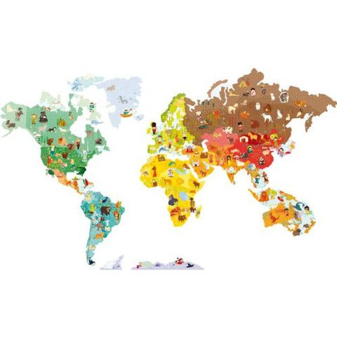 Janod 02850 World Map Magneti'Stick Giant Magnetic Wall Decals & Magnets with Coloring Book