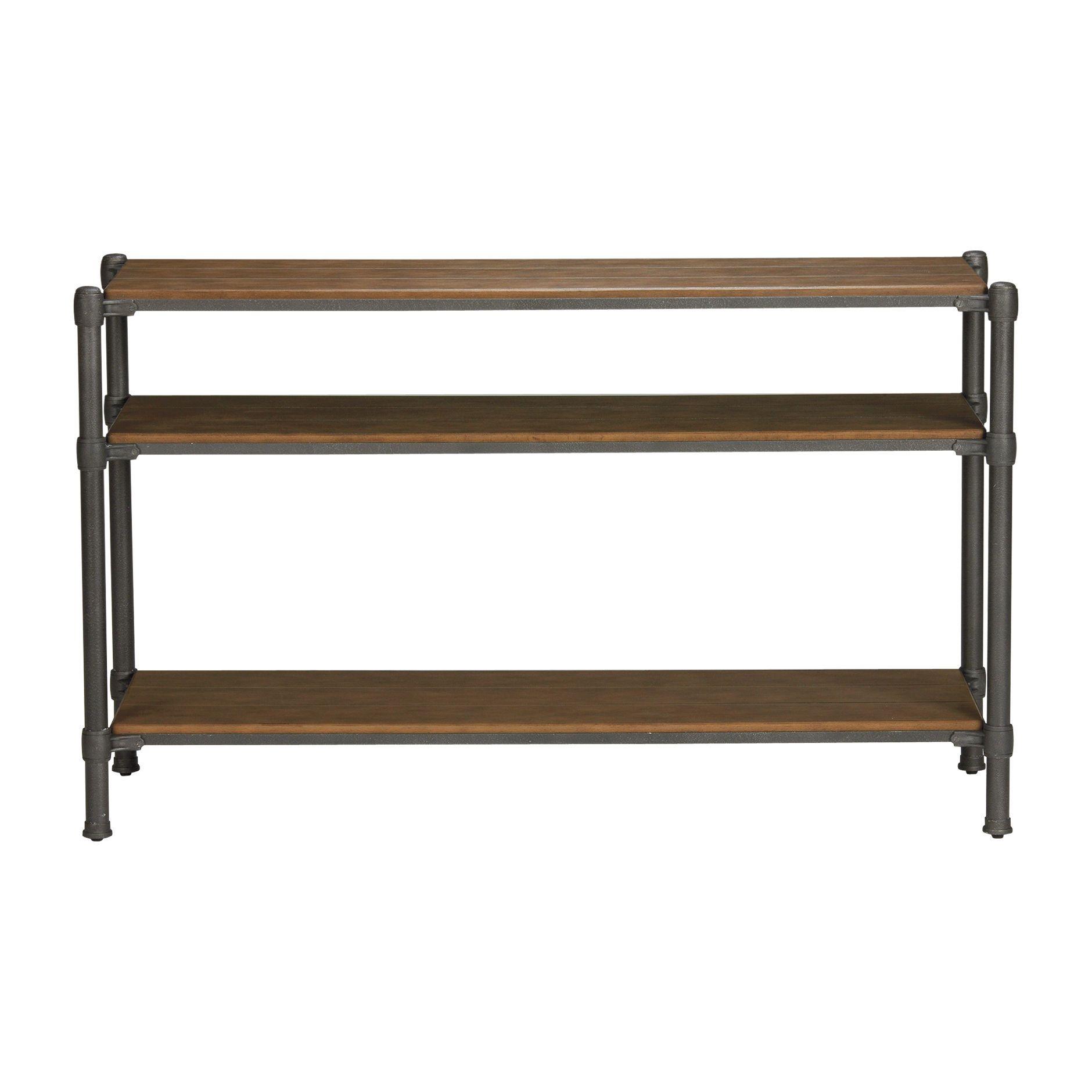 """trekker console table - ethan allen us base shelf is 14.5"""" to mid"""