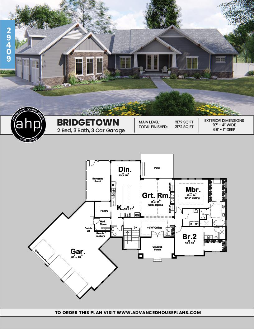 1 Story Craftsman House Plan Bridgetown Porch House Plans Craftsman House Plans Craftsman House