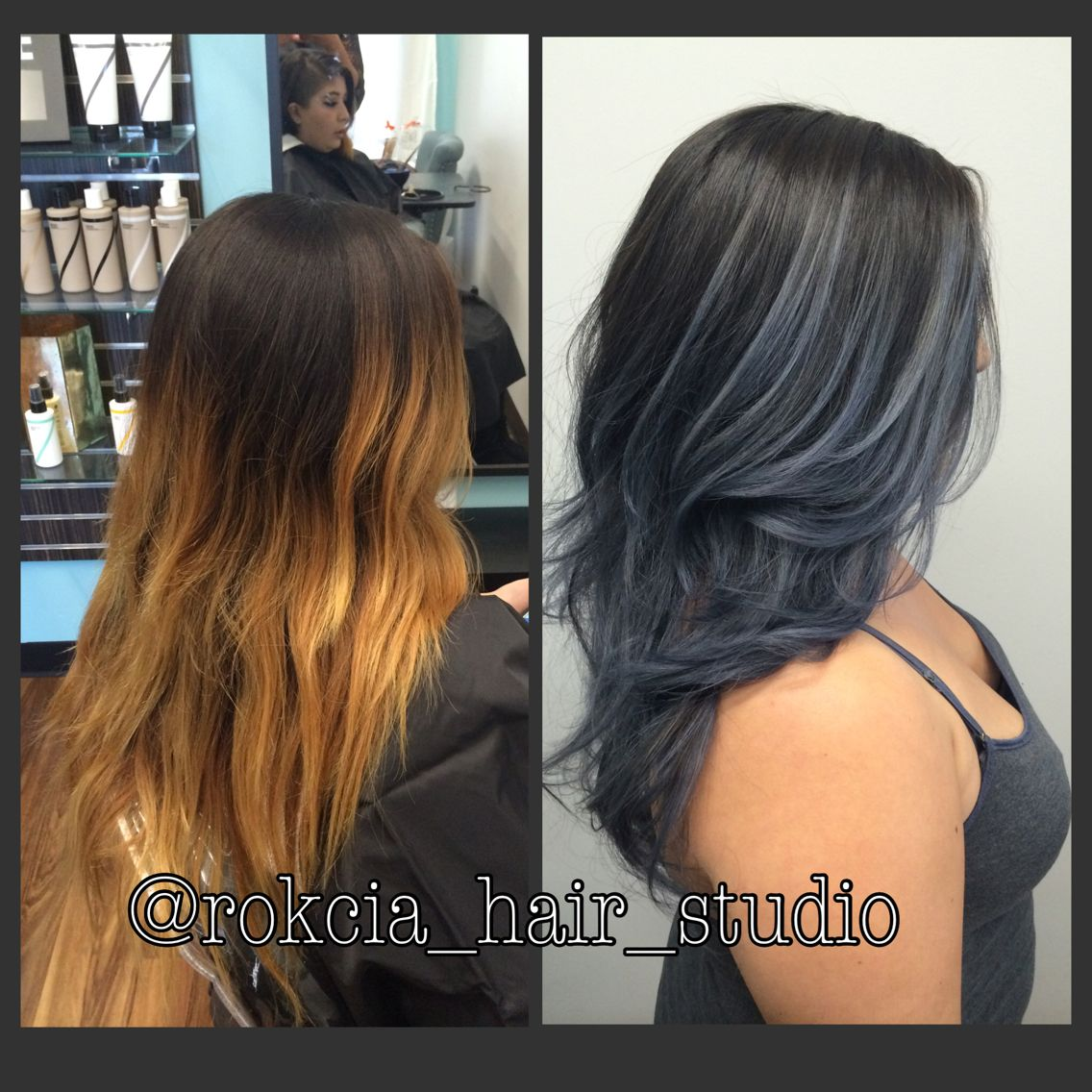 Slate grey bayalaged ombré Hair transformation by @rokcia ...