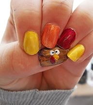 Turkey nails for thanksgiving with fingers for tail feathers. 11-22-12 cute fun nail polish design tutorial