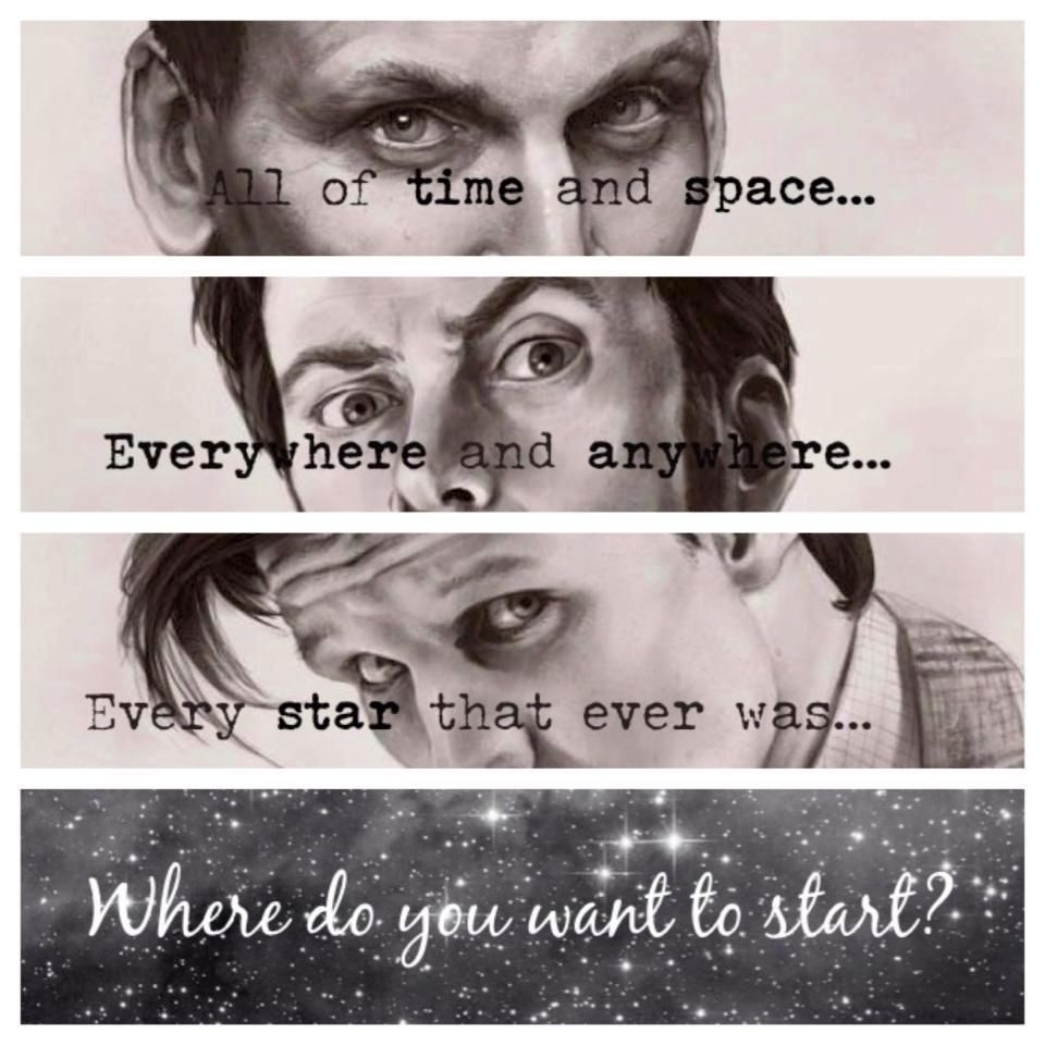 An Invitation to Doctor Who! All of time and space, everywhere and anywhere, every star that ever was... Where do you want to start? Christopher Eccleston, David Tennant and Matt Smith.