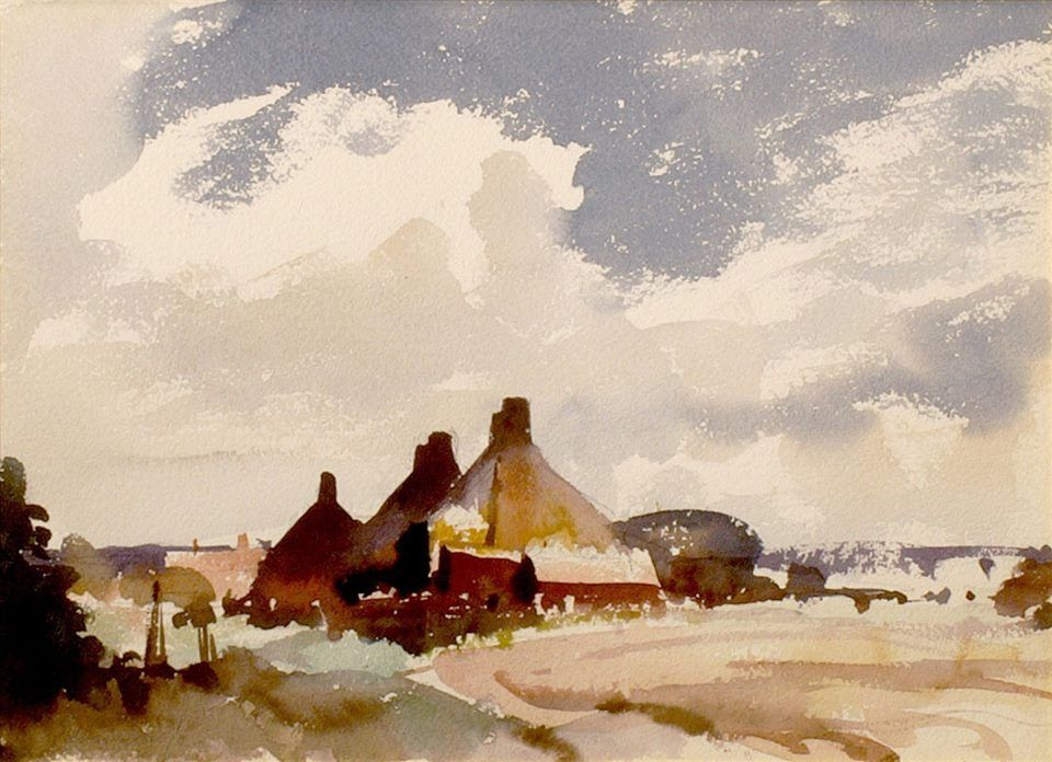 Edward Seago 1910 1974 Uk Norfolk Landscape Watercolor On