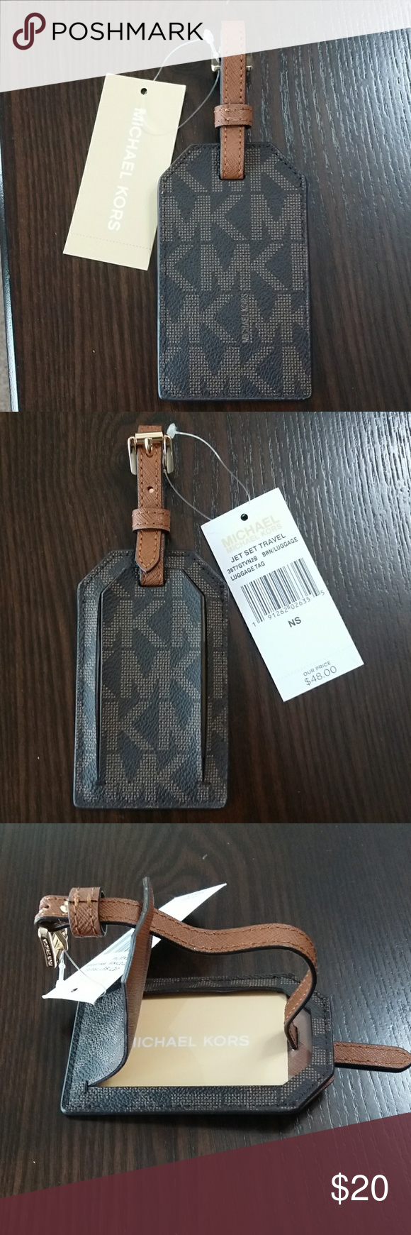 457a7963a32e Michael Kors Luggage Tag Jet Set Travel Brown Authentic New With Tags  luggage tags