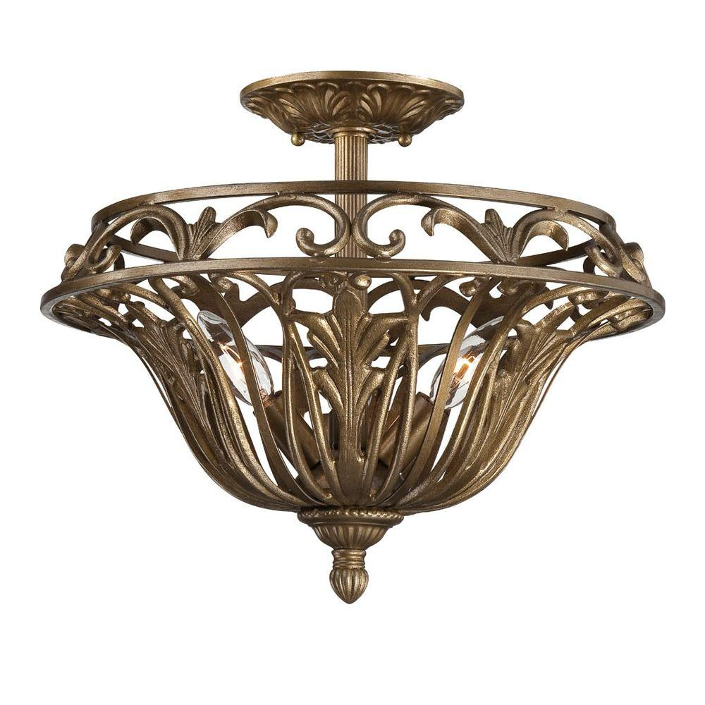 Hampton Bay Oakura 3 Light Gold With Oak Leaf Semi Flush Mount 22061 010 The Home Depot Hampton Bay Semi Flush Oak Leaf