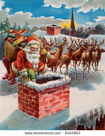 Santa Reindeer And Sleigh On The Roof Top Circa 1899 Illustration Reindeer And Sleigh Santa And Reindeer Vintage Santas