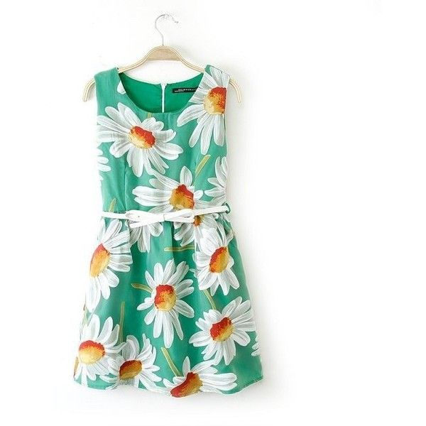 Prinkko Women's Summer Floral Print Sleeveless Dress (92 BRL) found on Polyvore featuring women's fashion, dresses, vestidos, green summer dress, floral print sleeveless dress, green sleeveless dress, floral pattern dress and floral print summer dresses