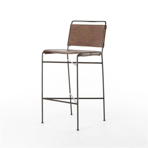 Wharton Barstool in Distressed Brown | SEATING | CHAIRS, POUFS ...