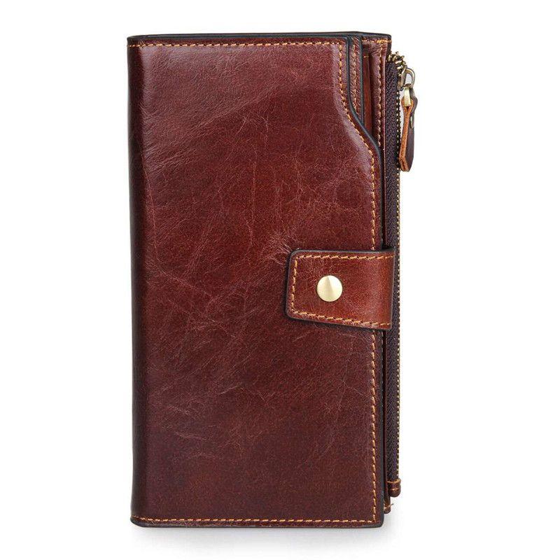 Genuine Leather Long Wallet Handbag with Credit Card Holder Vintage ...