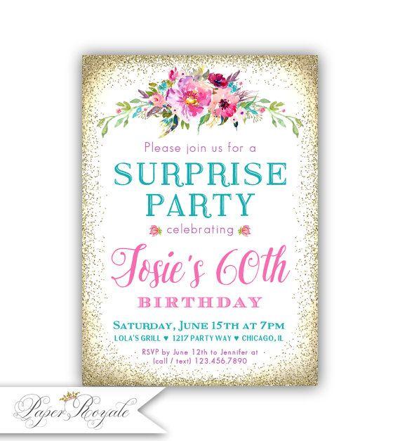 Surprise 60th Birthday Invitation Womens Surprise Party Birthday