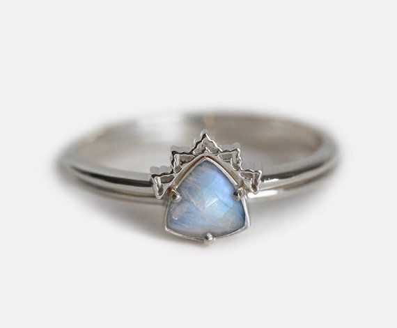 Beautiful Dainty Rainbow Moonstone Wedding Ring Set Features Lace Band And Solitaire G