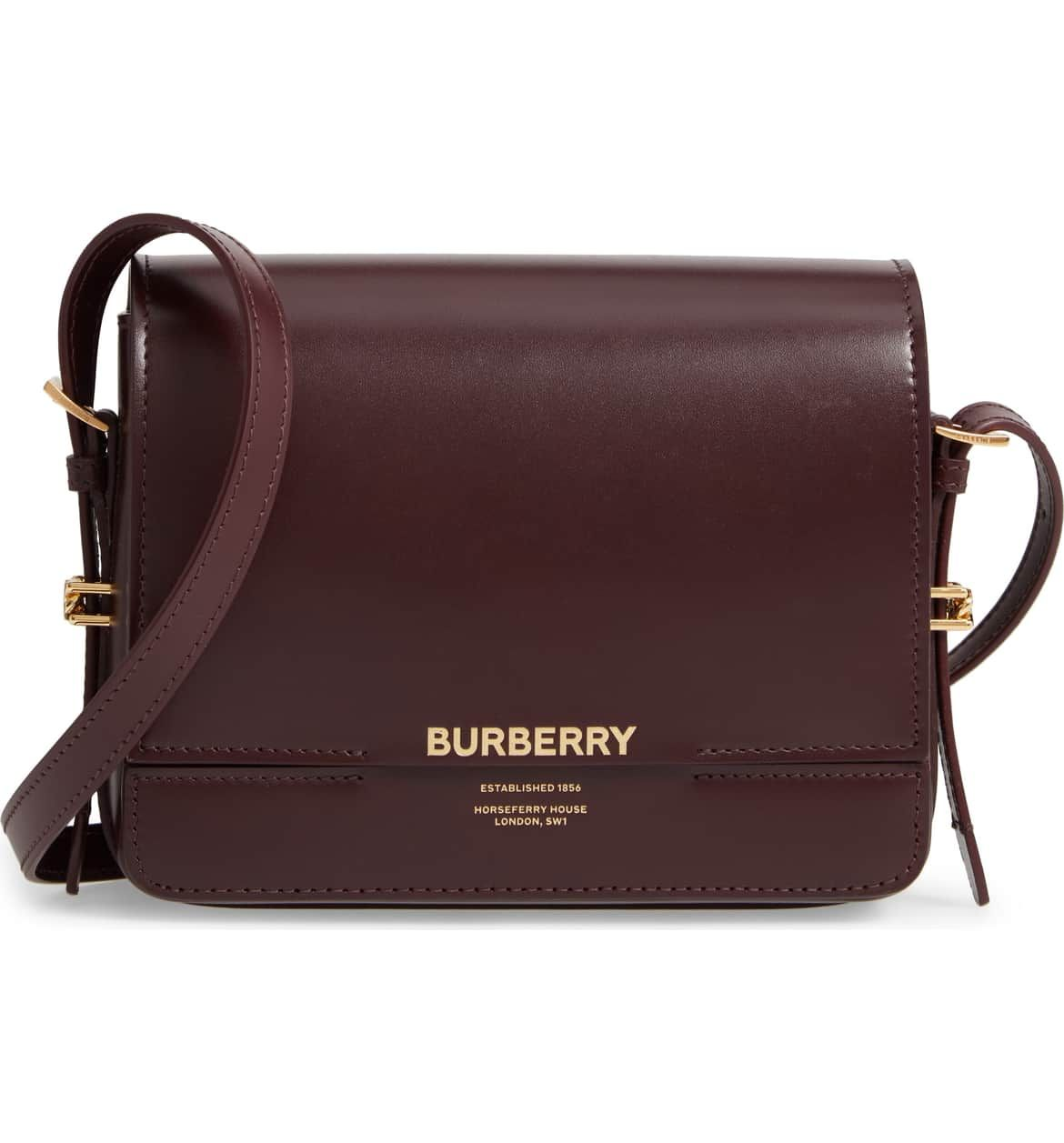 b54f0dd741 BURBERRY Small Horseferry Leather Crossbody Bag, Main, color, OXBLOOD