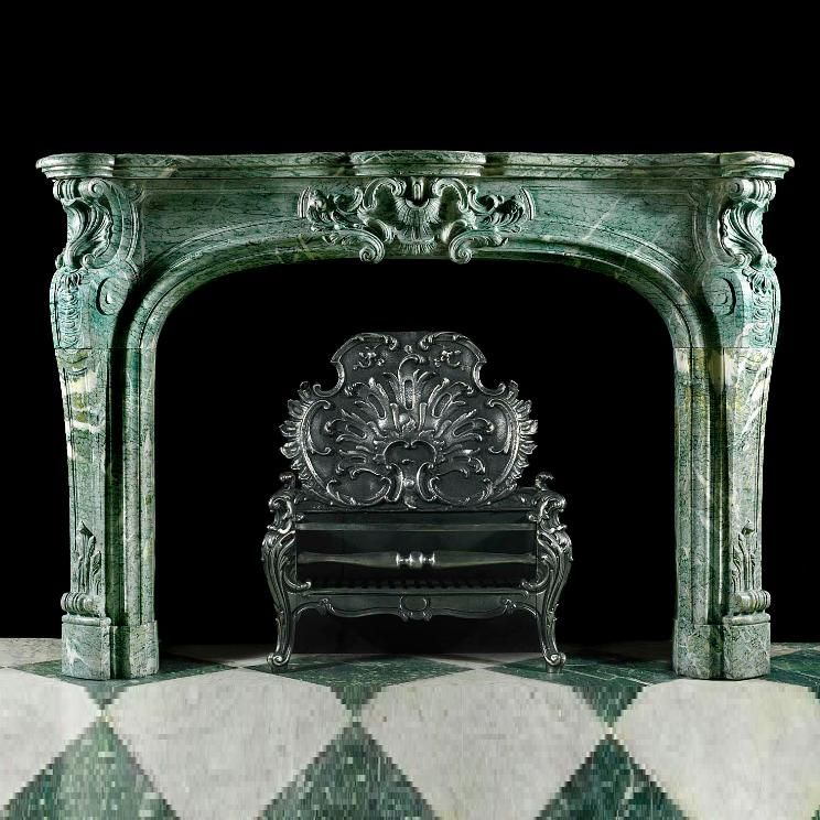 antique marble fireplace mantels. Antique Louis XV carved green marble rococo fireplace mantel mantels