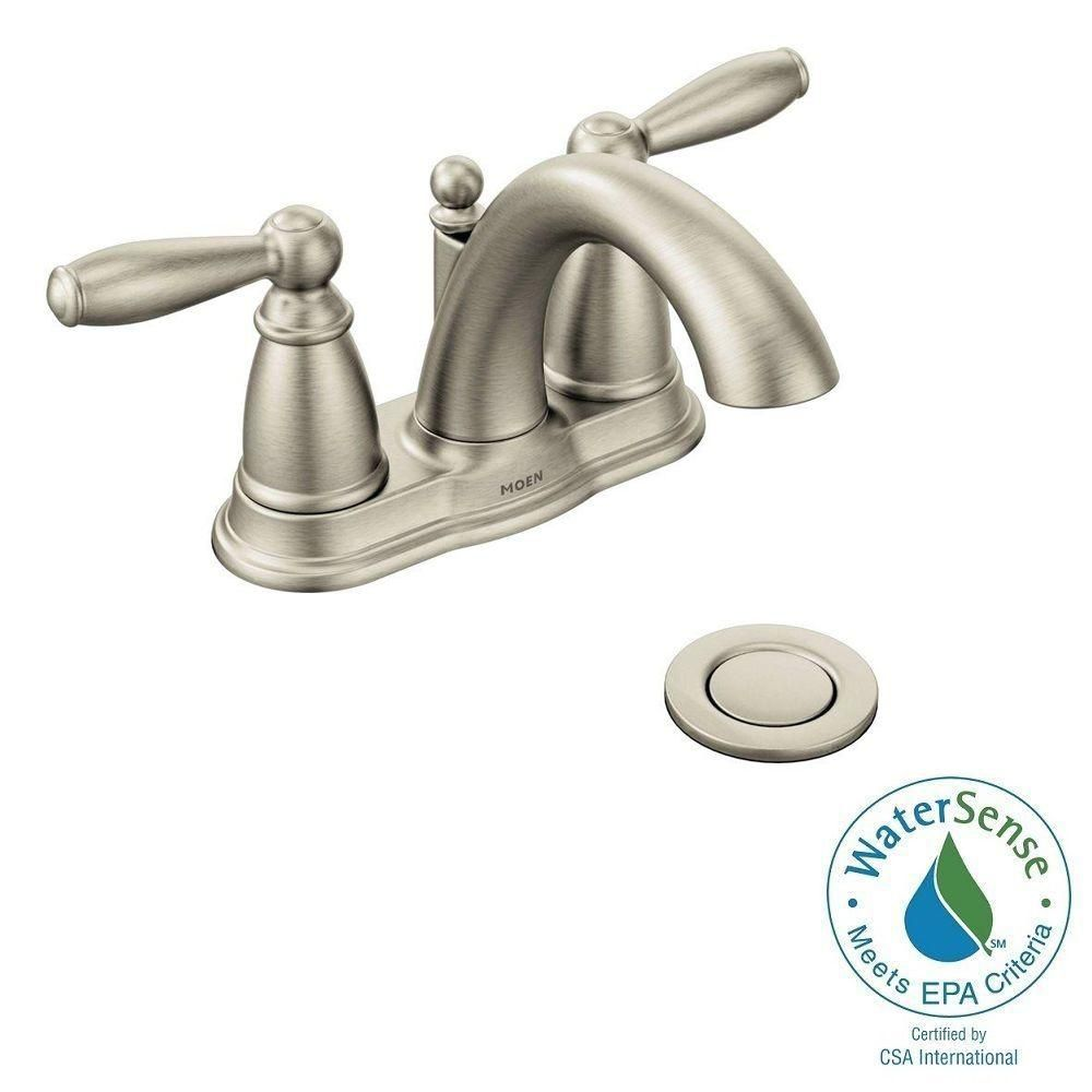 Moen Brantford 4 Incenterset 2Handle Lowarc Bathroom Faucet In Beauteous Home Depot Moen Bathroom Faucets Inspiration