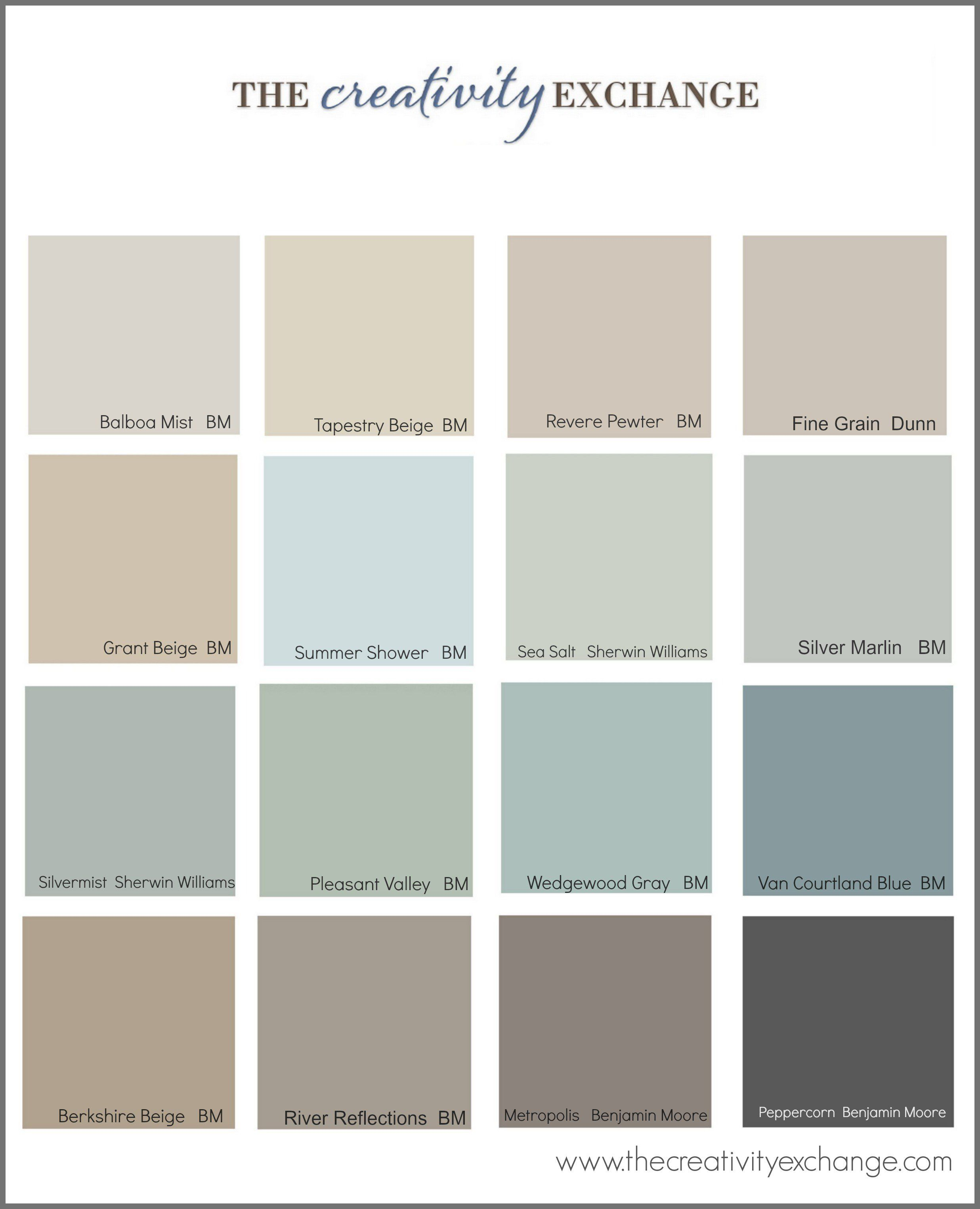 Collection Of The Most Popular Pinned Paint Colors On