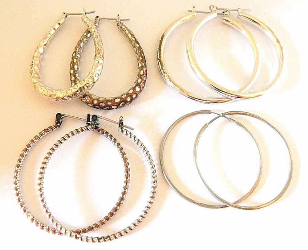 Lot Vintage Gypsy Hoop Earrings Silver Tone Boho Chic Retro Costume Jewelry   #Hoop