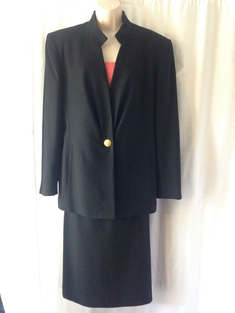 e0a07f1ccd99 Vintage Christian Dior Womens 14 Dress Suit Black Wool Made in USA 90s #Dior  #DressSuit