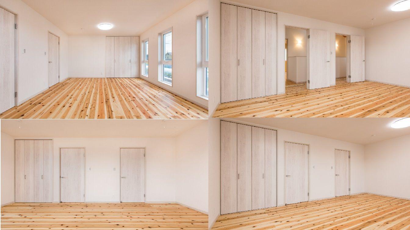 部屋に間仕切り壁をつくることで 左右同じ部屋に分割可能です 入口2