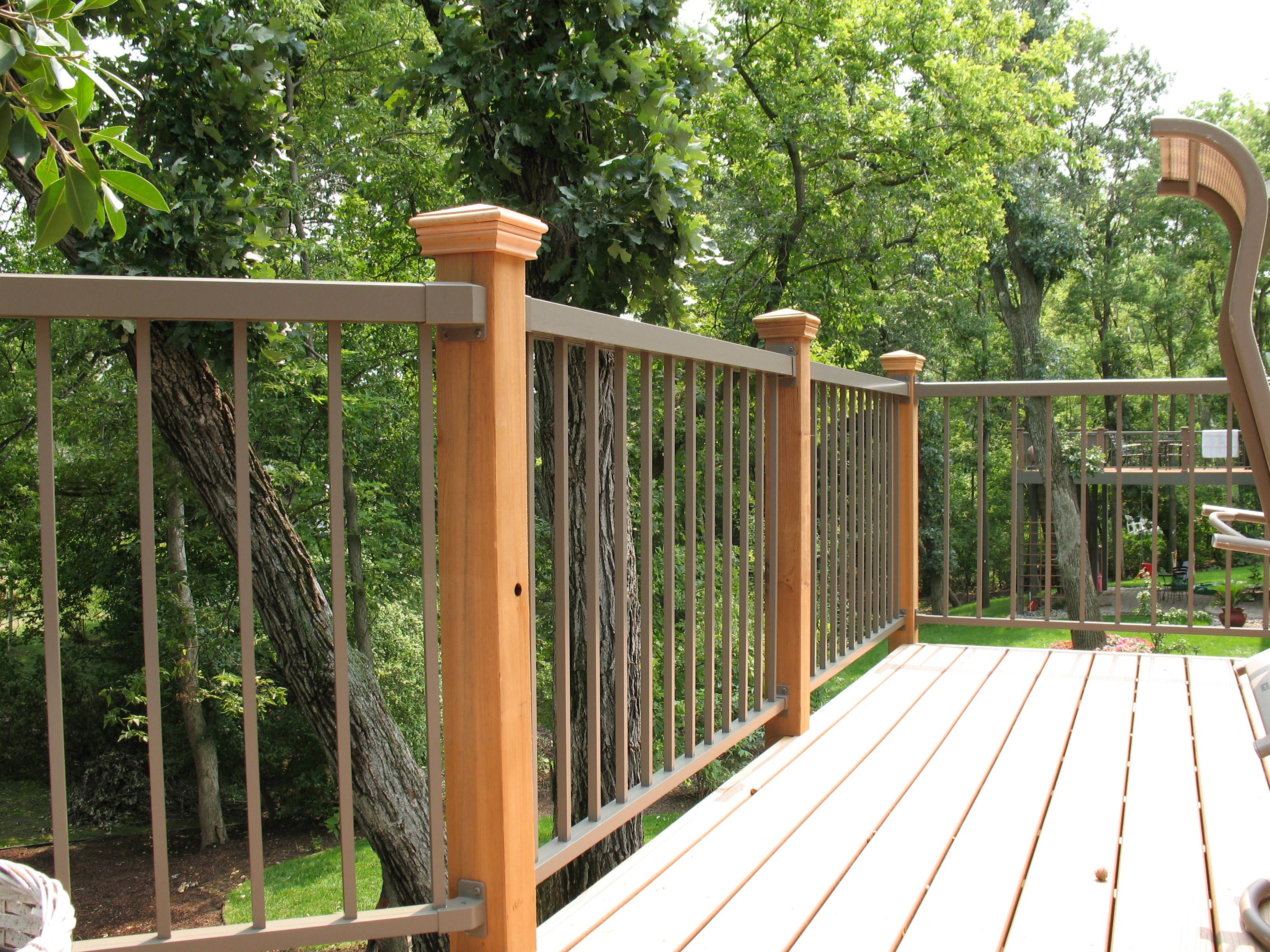 Wrought Iron Fence With Wood Posts Google Search Deck Skirting Deck Railings Rustic Deck