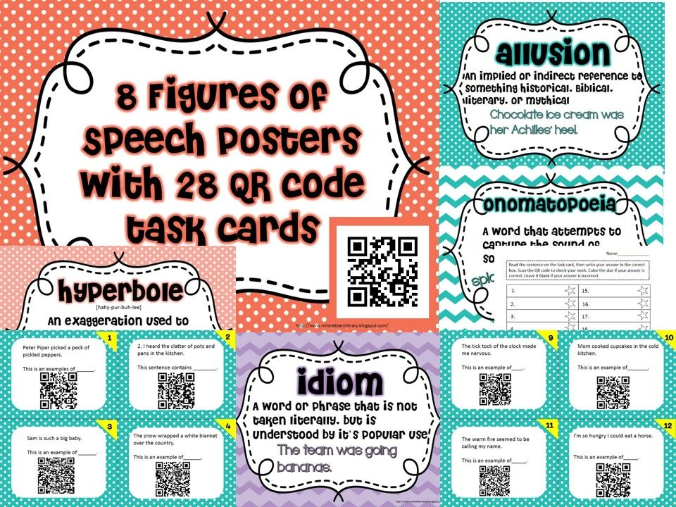 Figures Of Speech Posters Qr Code Task Cards Alliteration