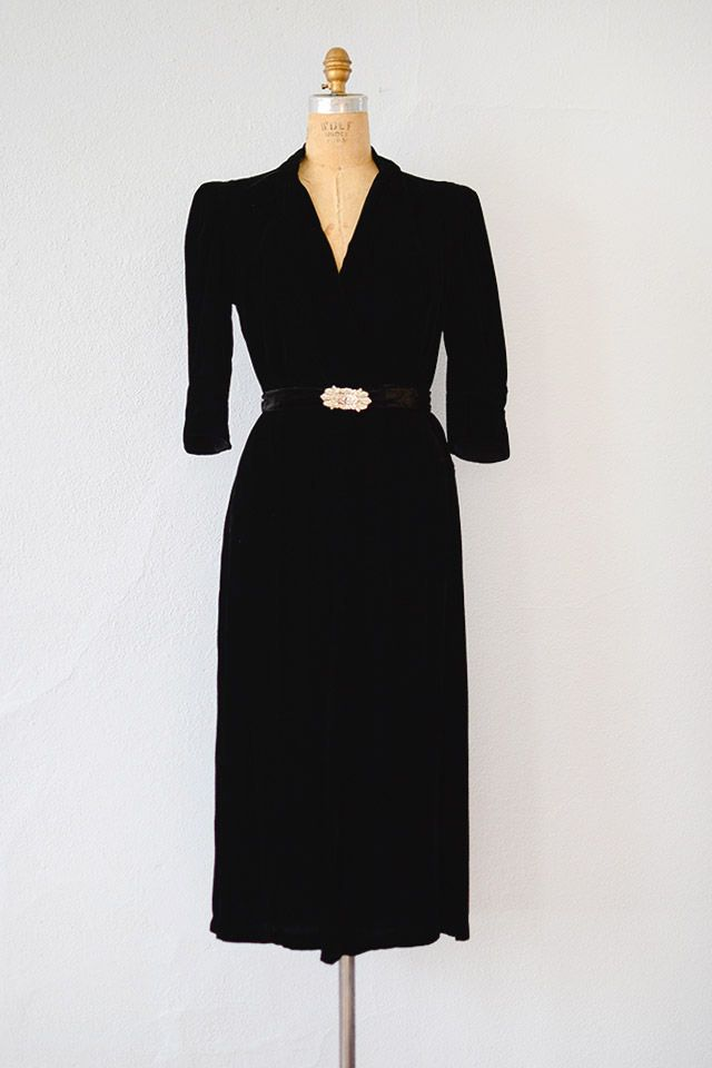37546c3fd4 1930s black silk velvet semi formal party dress has v-neckline with lovely  knot detail (see the last photo