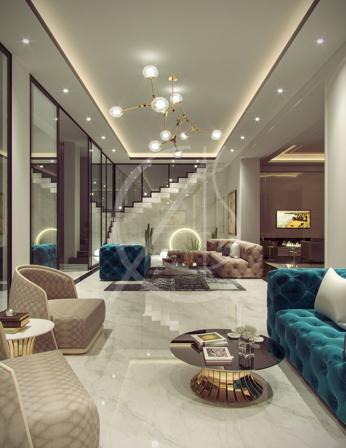 Family Villa Contemporary Arabic Interior Design Riyadh Saudi