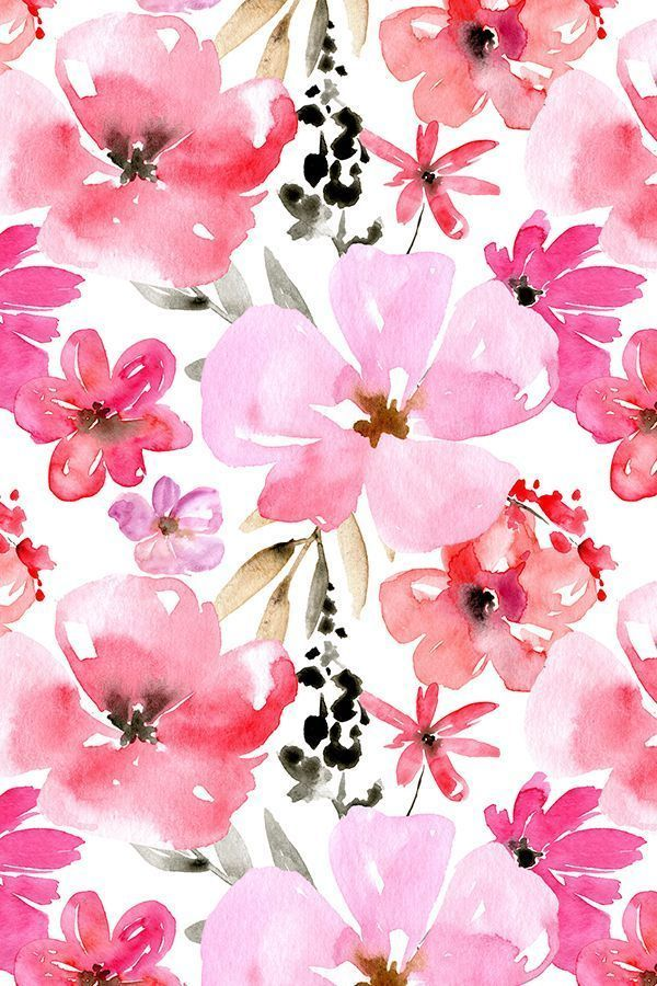 red and pink watercolor flowers by peachbloom hand