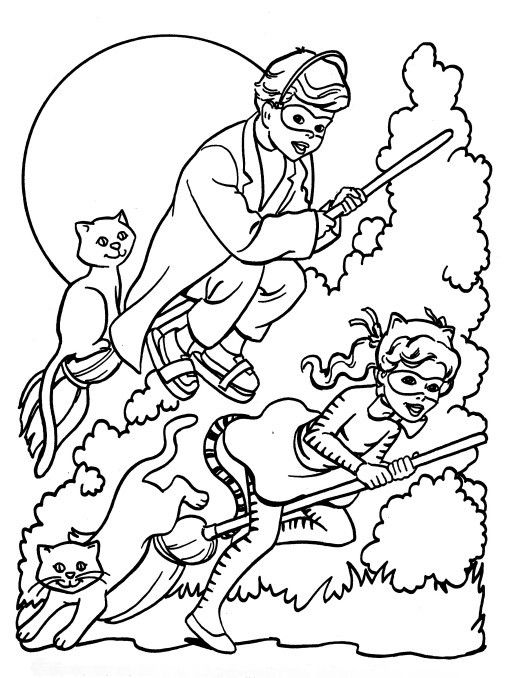 Printable Halloween Coloring Page Trick N Treaters Witch Coloring Pages Halloween Coloring Pages Happy Halloween Witches