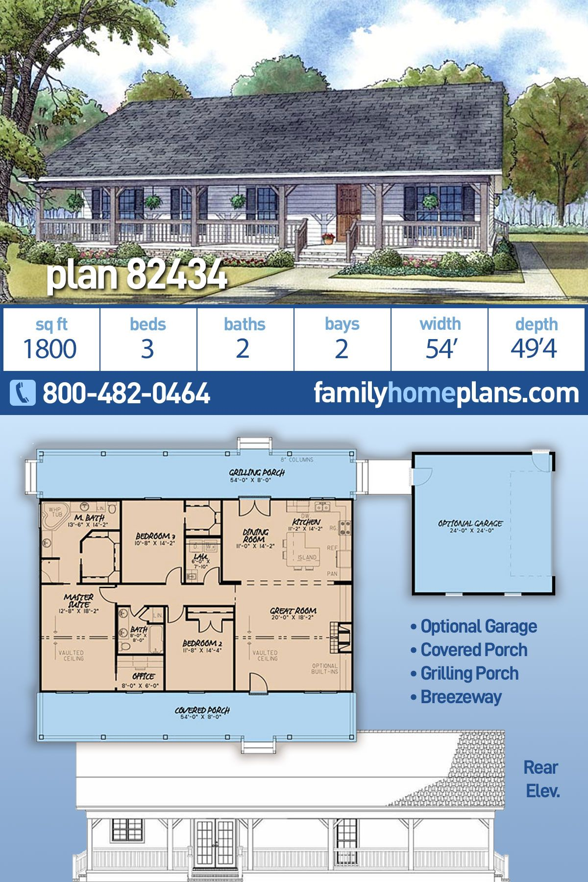 Ranch Style House Plan 82434 With 3 Bed 2 Bath 2 Car Garage Ranch Style House Plans Ranch House Plans Ranch Style Homes