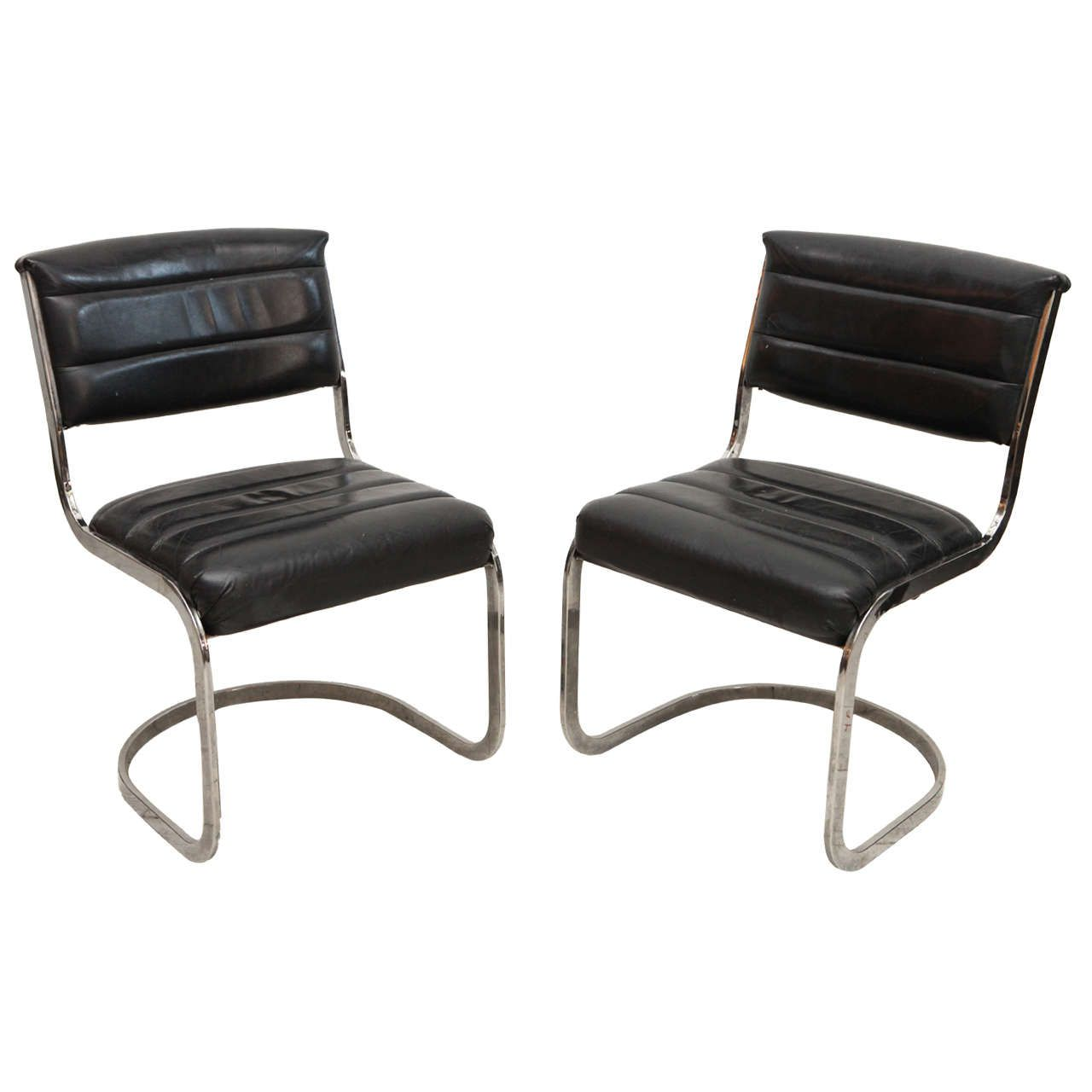 Set Of Four Ribbed Black Leather And Chrome Cantilever Dining Chairs