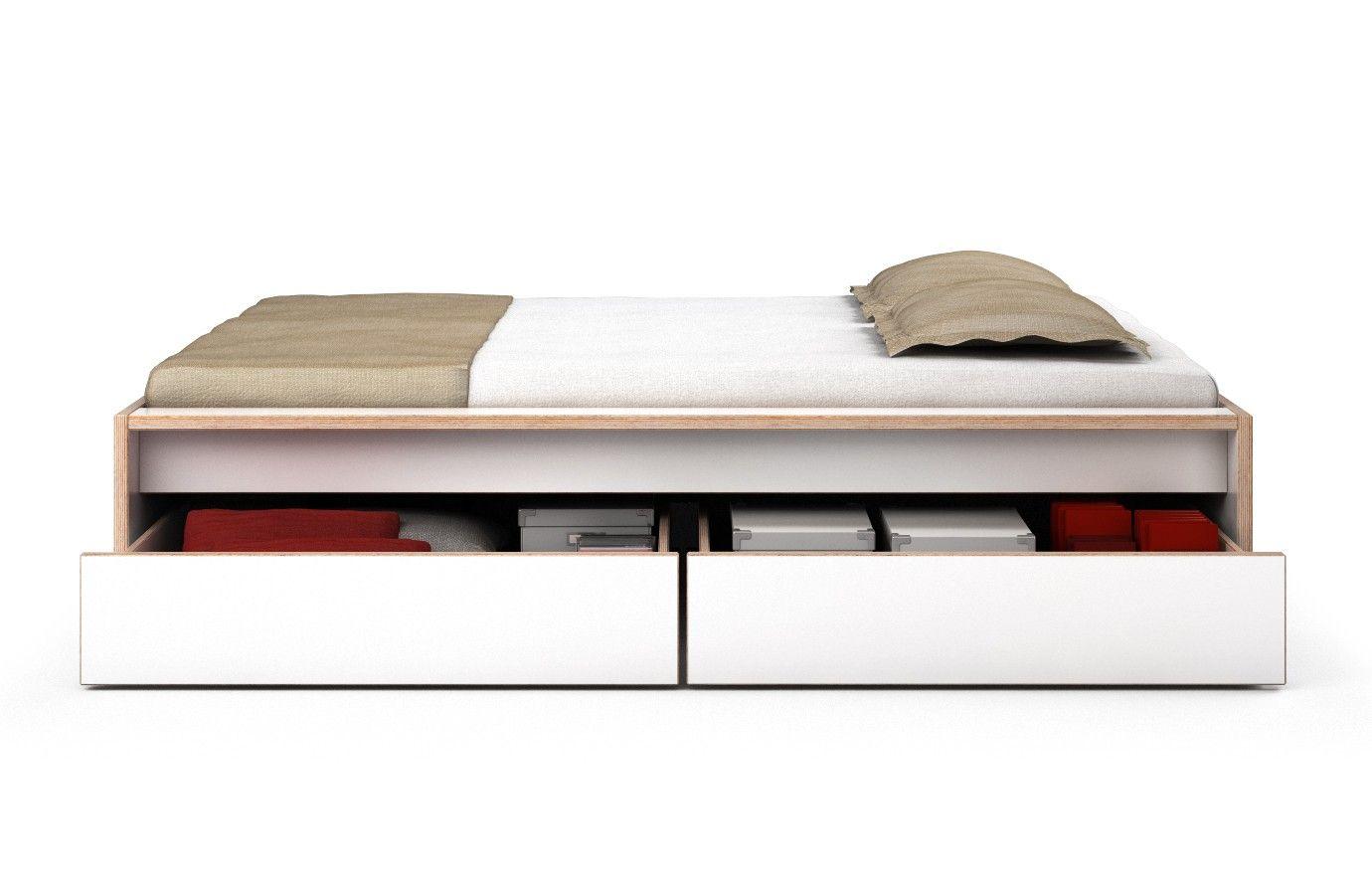 Bett Multiplex Weiß Omaha 140 x 200 cm 2 Schubkästen