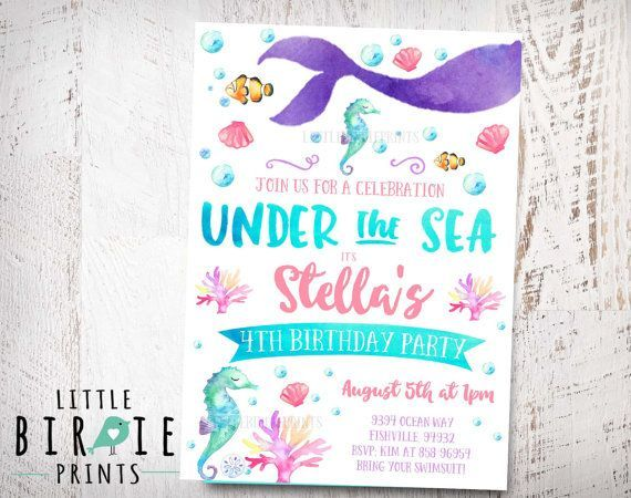 Pin by Husaina Kutub on mermaid Pinterest Party sweets and Sweet 16 - birthday invitation swimming party