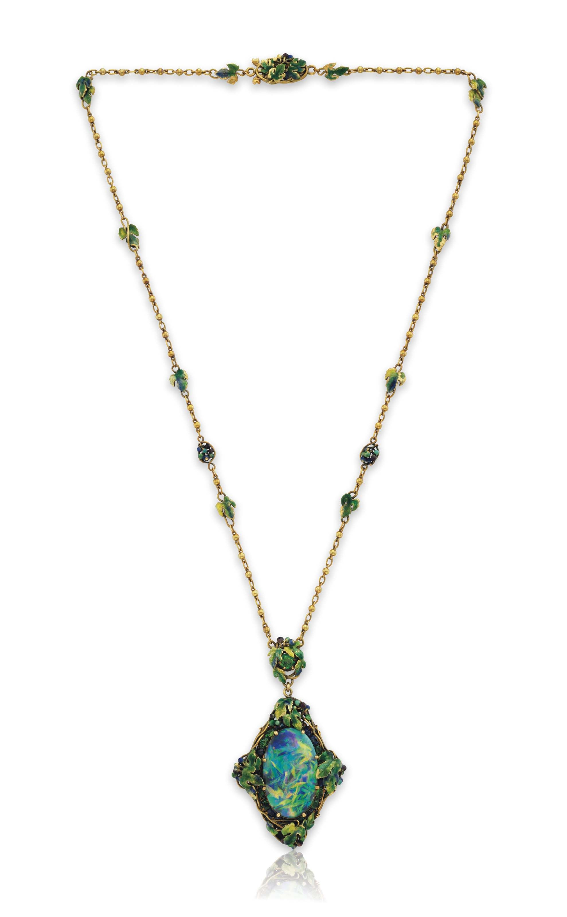 A Black Opal And Multi Gem Pendant Necklace By Louis Comfort Tiffany Tiffany Co