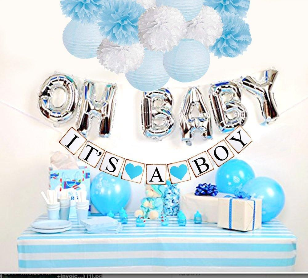 Boy S Baby Shower Decorations Set It S A Boy Banner Baby Blue Shower Party Kit Baby Blue Party Theme Baby Boy Shower Party Oh Baby Party Baby Shower Decorations For Boys Baby Boy