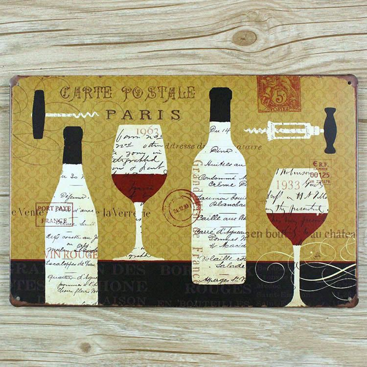 Free shipping RO-0236 paris beer and wine metal tin signs painting vintage decorative plates & Free shipping RO-0236 paris beer and wine metal tin signs painting ...