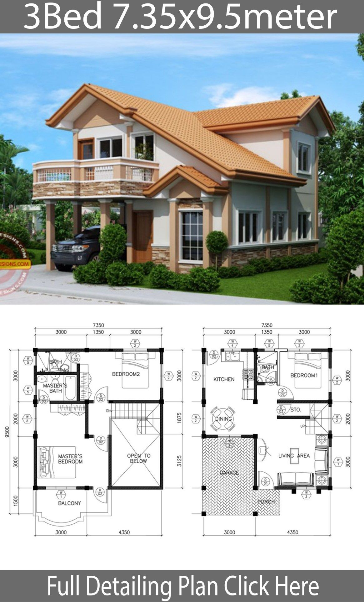 Home Design Plan 7 35x9 5m With 3 Bedrooms Home Design With Plansearch Model House Plan Architectural House Plans House Designs Exterior