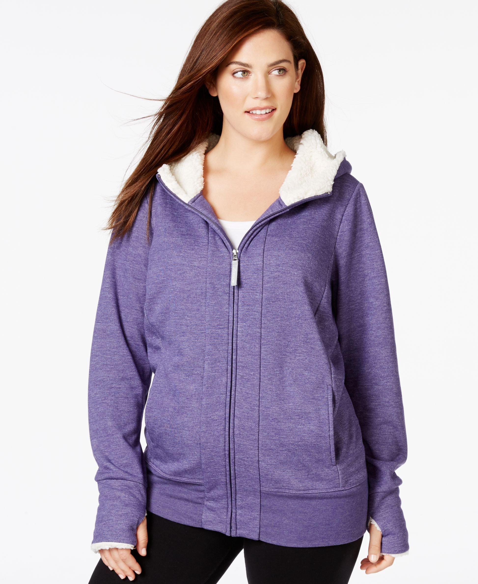 Ideology Plus Size Sherpa Hooded Knit Sweatshirt, Only at Macy\'s ...
